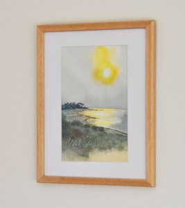 Sunset, Golden Sea. Watercolour & Artist's Pencil on Watercolour Paper, Framed, side view