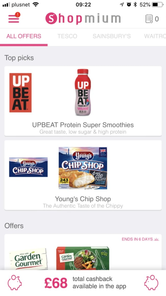 Earn cashback on groceries with Shopmium