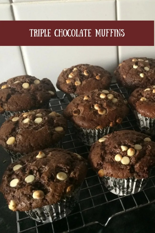 My triple chocolate muffins that take minutes to prepare. Delicious chocolate muffins that are so simple to bake