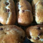 Chocolate chip brioche rolls made in the Panasonic breadmaker on a cooling rack