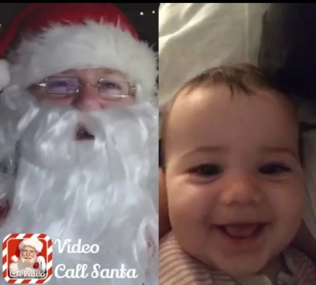 Daisy is nine months old - here she is calling Santa!
