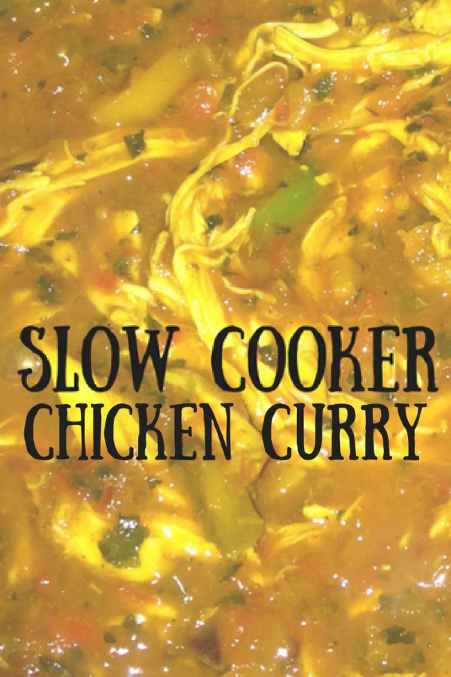 Slow cooker chicken curry is frugal, tasty, simple and fast to prepare. Frugal food, budget meals, slow cooker dinner
