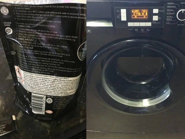 Dylon fabric dye in use