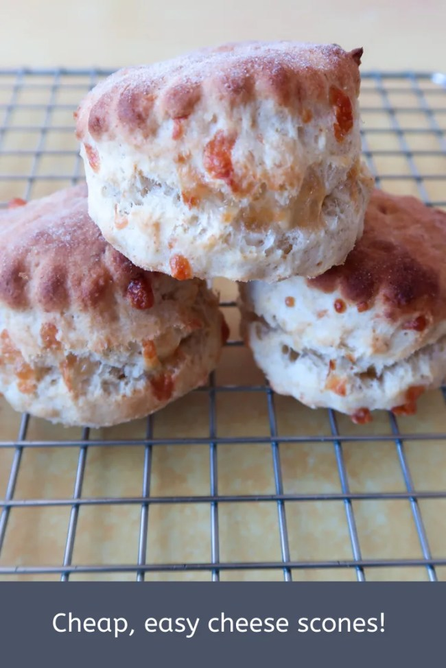 Cheap, easy cheese scones. #FrugalFood #CheeseScones #CheeseRecipe #Scones #CheapEats #FrugalEats
