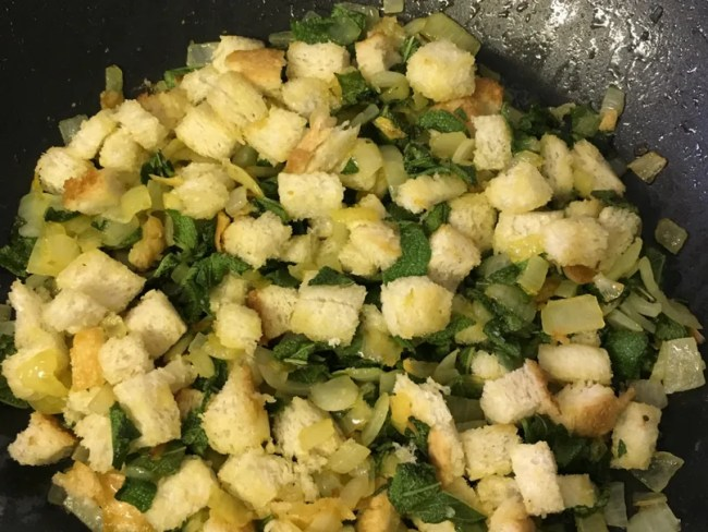 Sage and onion stuffing recipe - A look at the stuffing once bread and sage is added