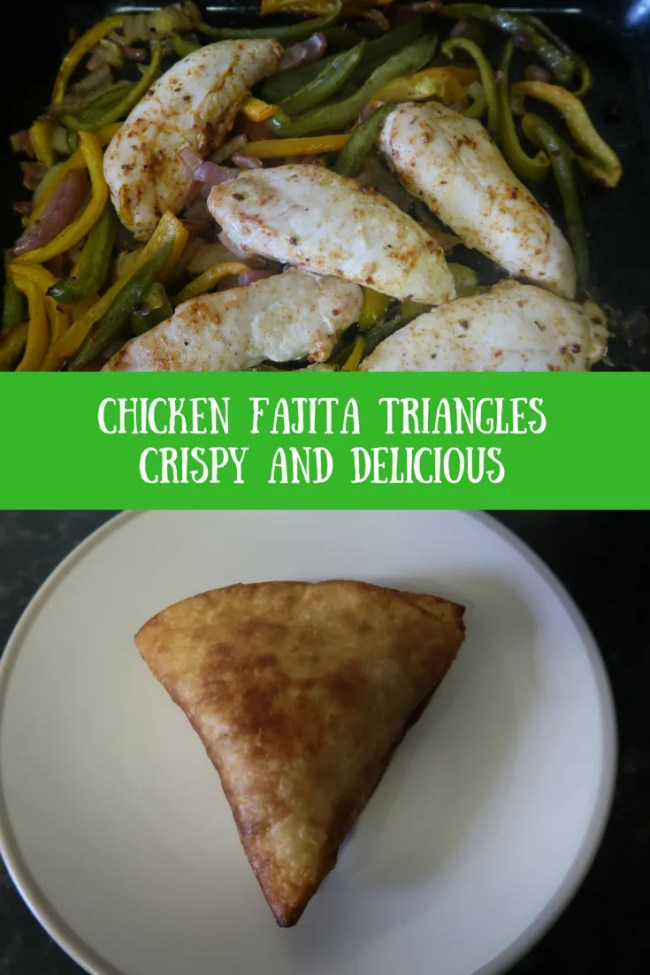 Chicken fajita triangles. Tasty, crispy, delicious fried chicken fajita triangles are SO good! Frugal too!