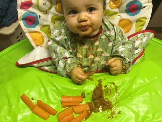Daisy eating carrots and bolognese - Global FPIES Day