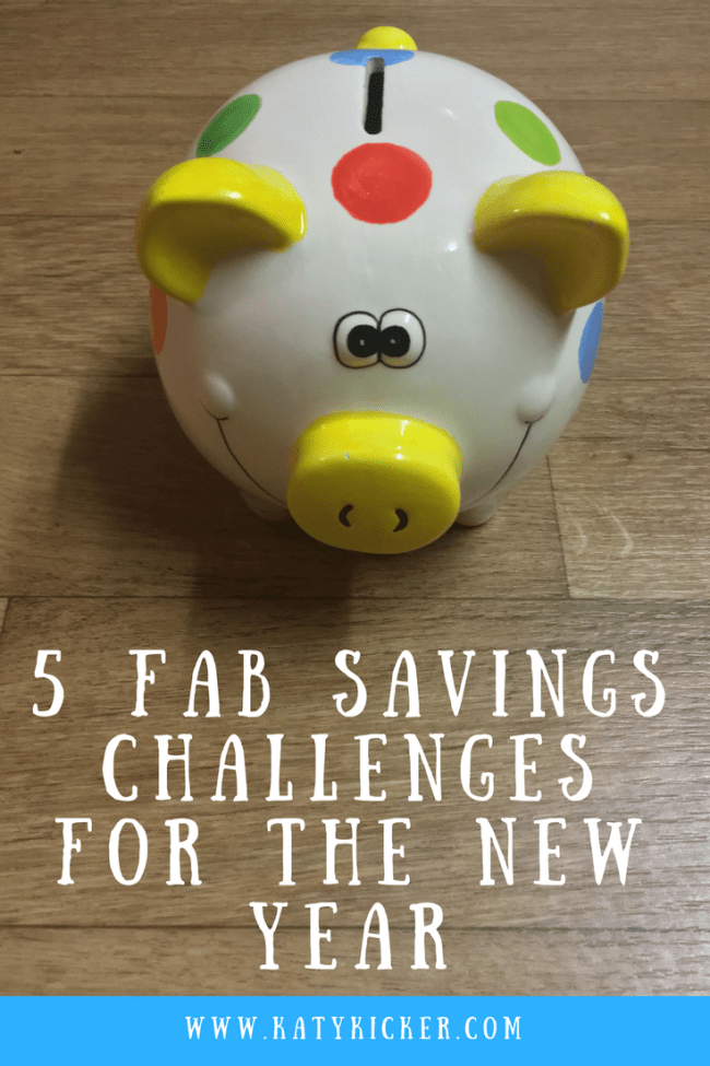5 fantastic savings challenges for the new year. Penny a day savings challenge, £1 a week savings challenge, the peak savings challenge, money saving, personal finance