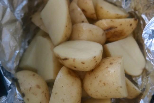 Slow cooker chorizo loaded potatoes - The potatoes before dressing