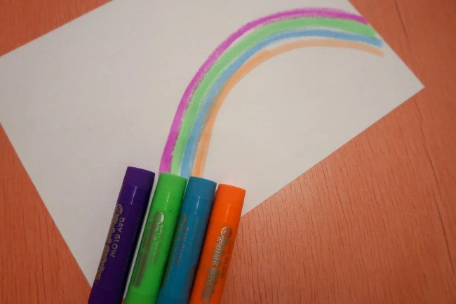 Drawing a rainbow with the Little Brian Paint Sticks