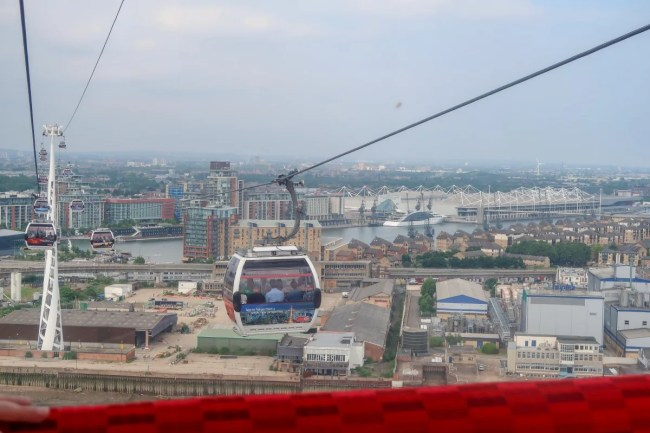 A cable car on the emirates airline cable car in motion