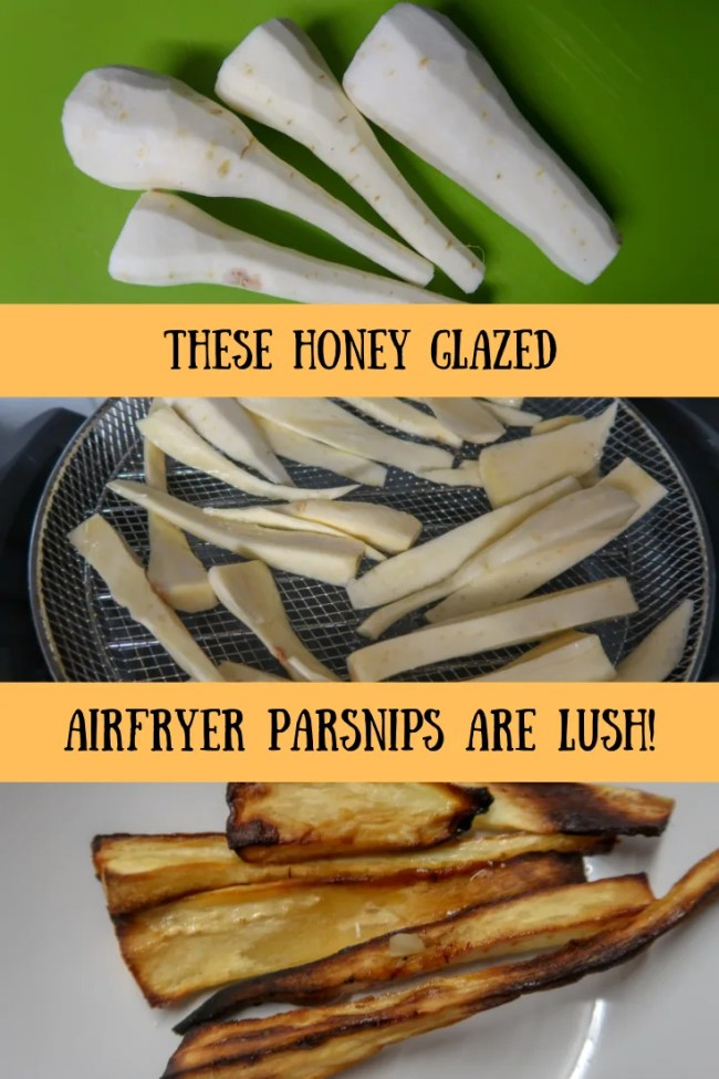 These honey glazed airfryer parsnips are delicious! #airfryer #parsnips #roastdinner #dinner #frugaleats