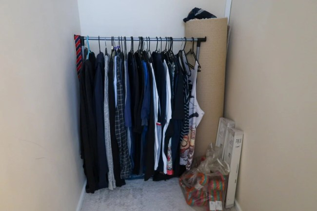 Setting up a wardrobe area on moving day Addis