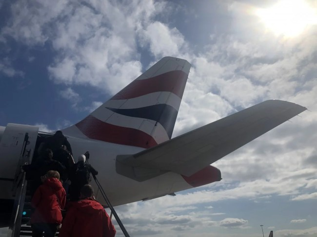 A photograph of the plane wing when heading off for a holiday.