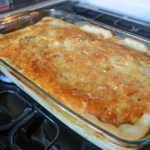 Fish pie with leeks after cooking