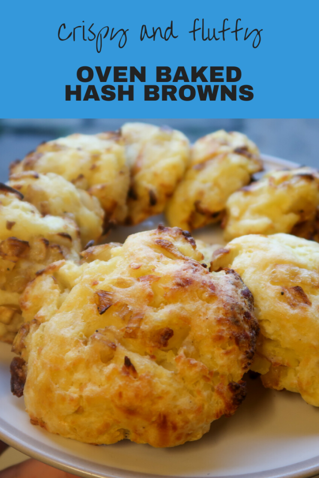 Oven baked hash browns in around 30 minutes! Crispy, delicious, fluffy hash browns with tasty onions. #Breakfast #Potatoes #PotatoRecipes #HashBrowns #UKRecipes #Frugal #FrugalFood
