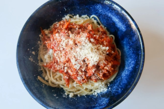 15 minute spaghetti bolognese - the finished dish!