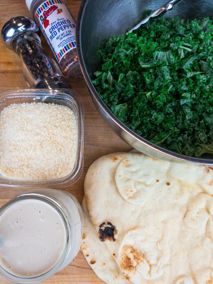 Lemon Tahini Kale Flatbread ingredients