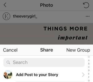 instagram stories post share