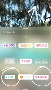 instagram stories polls + questions