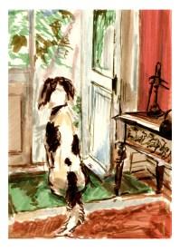 Snoopy at the garden door