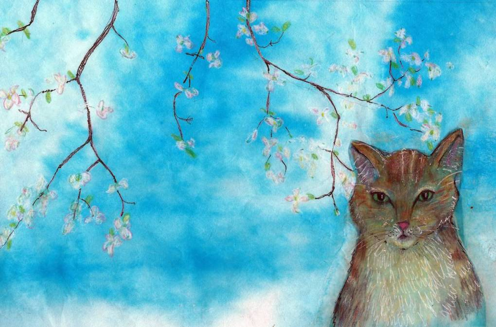 Cat with dogwoods in mixed-media