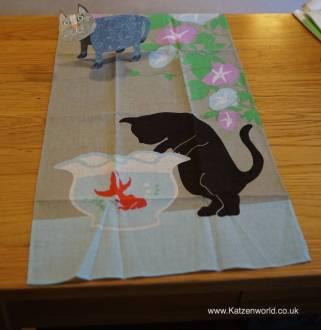 "A cat themed 'tenugui"""