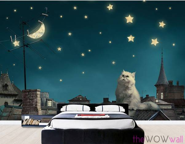 cat-wall-mural-on-the-roof