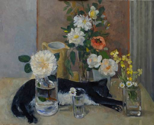 HR PAMELA KAY Sleeping Cat with Flowers