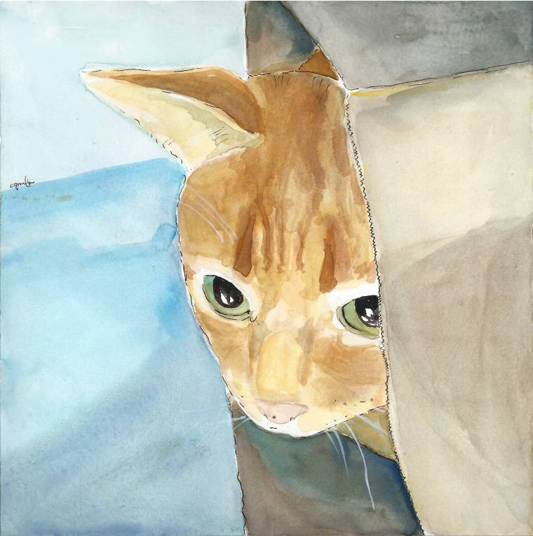 Cat in a bag. Watercolor painting.