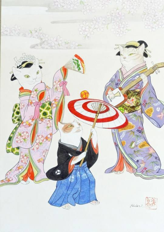 Japanese artist Midori Furuhashi combines two loves: cats and geishas in this piece entitled 'Performers' (Picture: Midori Furuhashi) Read more: https://metro.co.uk/2019/06/18/cat-art-anyone-30-cat-themed-paintings-to-go-on-sale-in-cat-only-art-show-9912406/?ito=cbshare Twitter: https://twitter.com/MetroUK | Facebook: https://www.facebook.com/MetroUK/