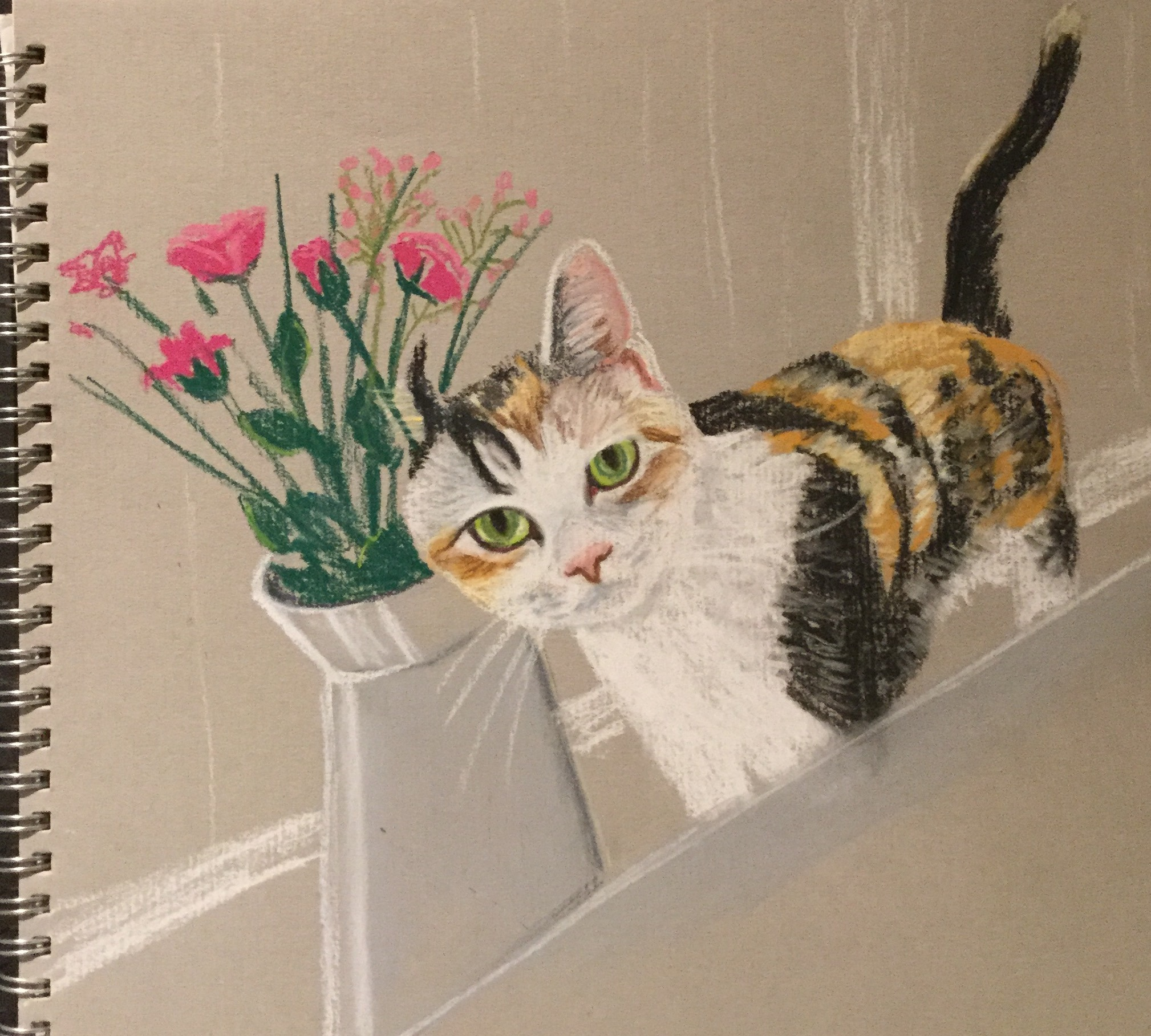 The Friday Art Cat: Cat on a Windowsill with Flowers