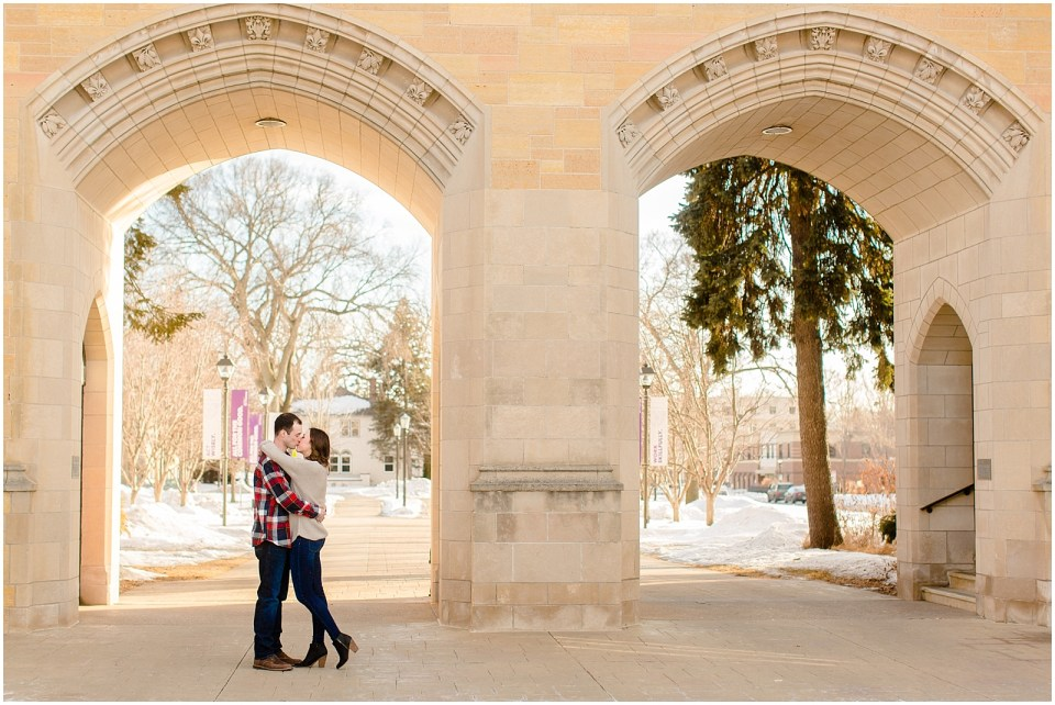 Winter Engagement Pictures   St. Paul, Minnesota   College Sweetheart Session on Campus   Plaid blanket scarf outfit