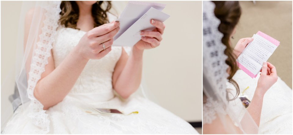bridal suite,bride,bridesmaids,catholic wedding,getting ready,groom,pink,reading letters,wedding dress,