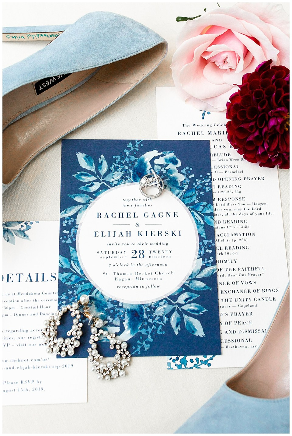 Invitation suite design at Mendakota Country Club in Eagan, MN with navy themed fall catholic wedding
