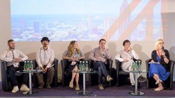 Das Creative AI Panel - mit Thomas Lidy, Alex J. Champandard, Mariel Noortman, Daryl de Jori, Michael Katzlberger, Reanne Leuning (v.l.n.r.) © WKO AUSSENWIRTSCHAFT AUSTRIA