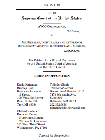 sikkelee brief in opposition - federal preemption