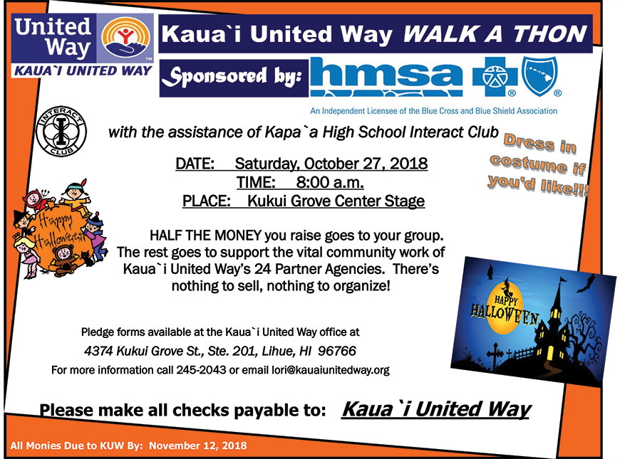 2018 Kauai United Way WALK A THON