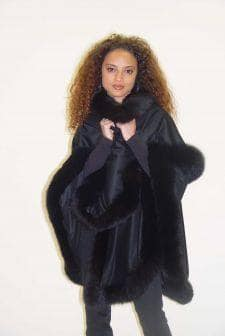 Black Cashmere Cape Black Fox Fur Trim