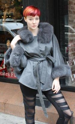 Gray Cashmere Cape Fox Collar Cuffs Marc Kaufman Furs NYC