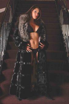 Martha Looking Beautiful Sexy Ranch Mink Coat Silver Fox Collar