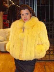 Marc Kaufman Furs Presents a Canary yellow dyed fox fur bomber jacket from Marc Kaufman Furs New York,Argentina,United Kingdom,Austria,Denmark,Norway,Australia,Finland,Saudi Arabia,Oman,Kuwait,Jordan,Egypt