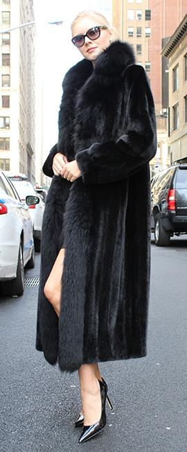 Ranch Mink Fur Coat with Black Fox Fur Trim