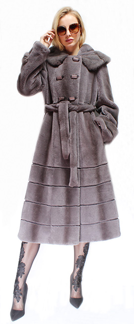Full Length Gray Rex Rabbit Fur Coat Hood