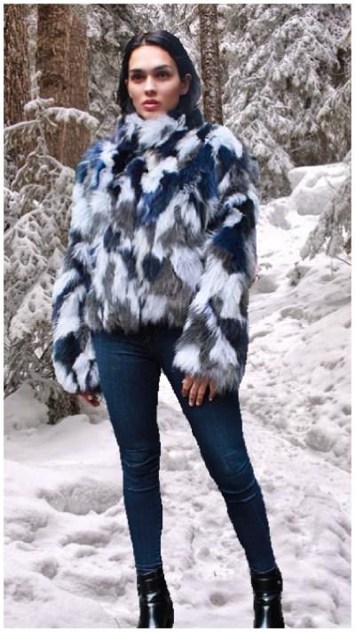 blue white fox jacket