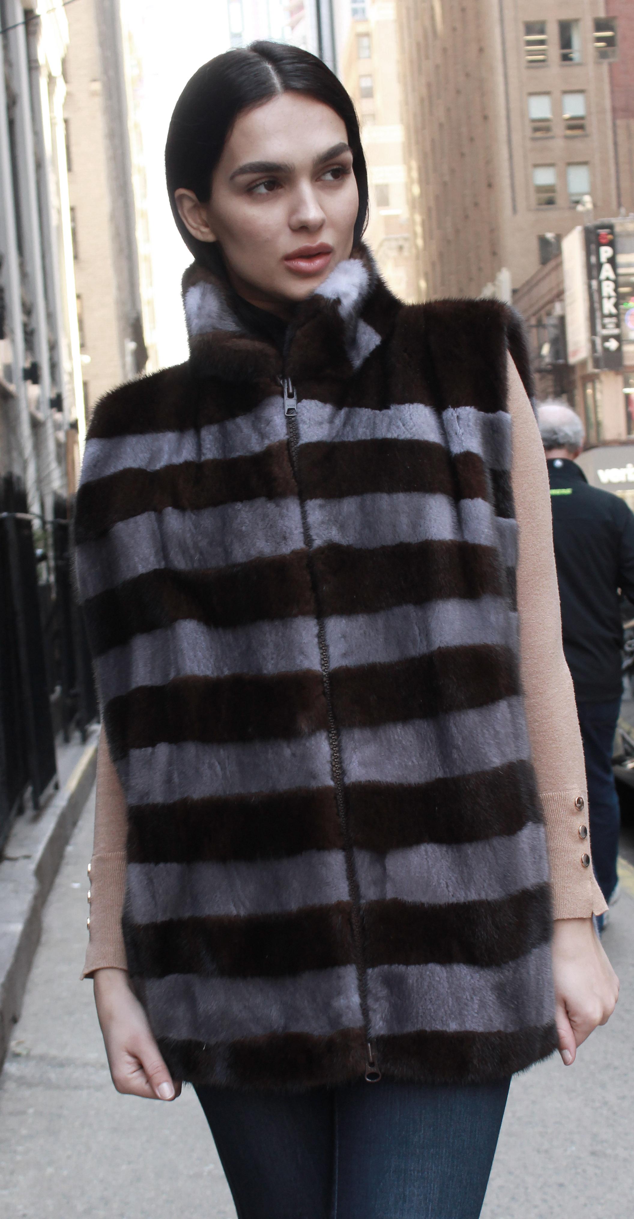 Brown Grey Striped Mink Fur Vest