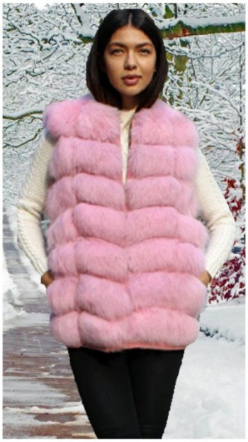 woman wearing pink for fur vest