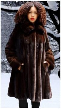 Woman wearing Plus Size Mahogany Mink Fur Stroller