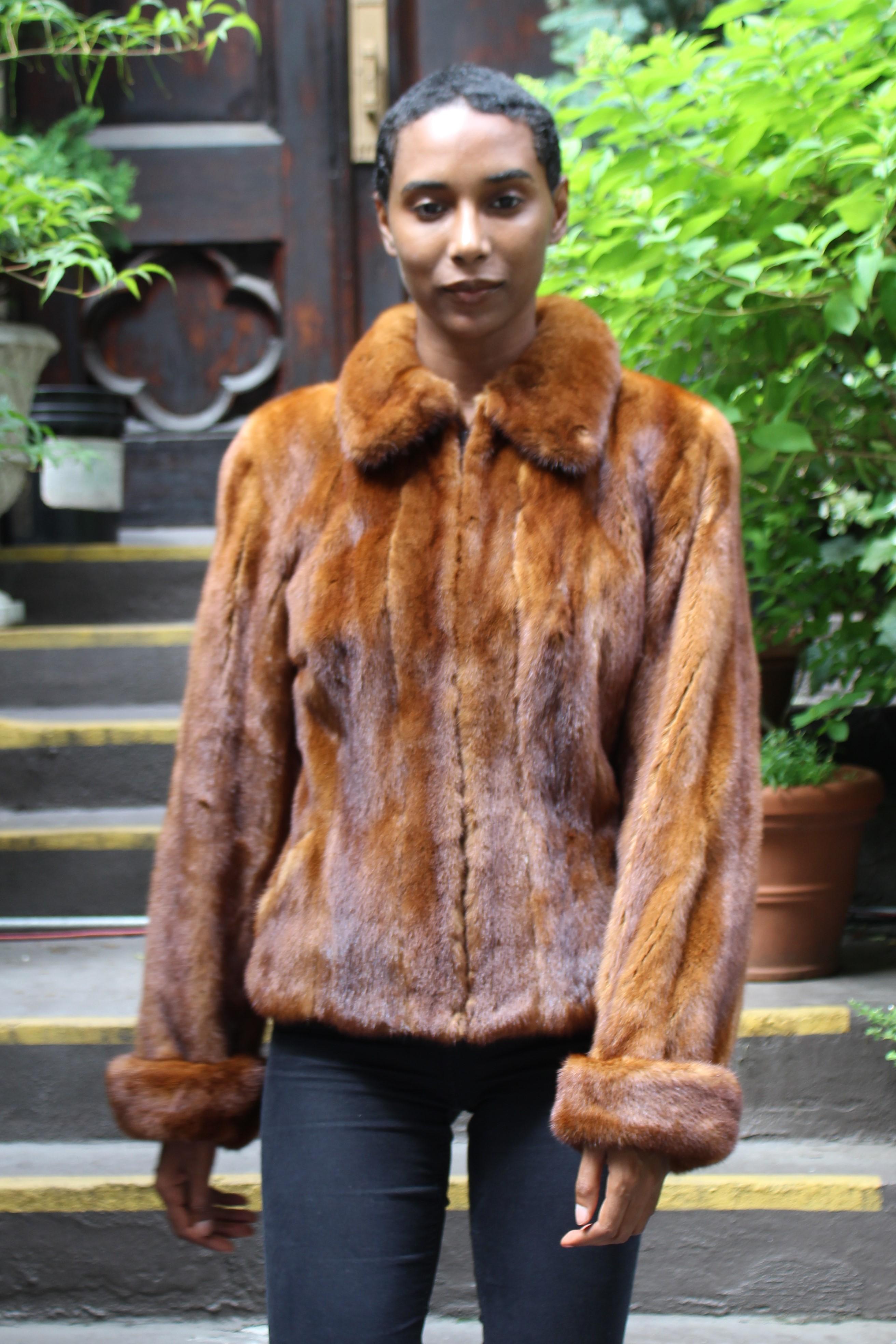 Cognac Mink Jacket Zipper Fronts