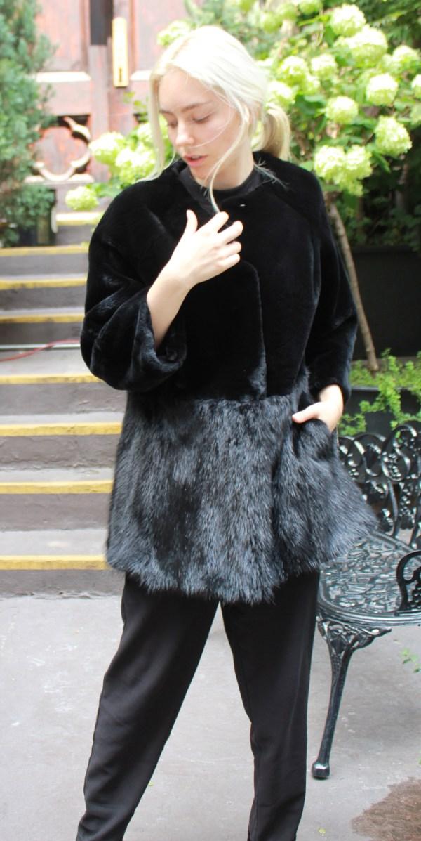 Black Rex Jacket Mink Skirt